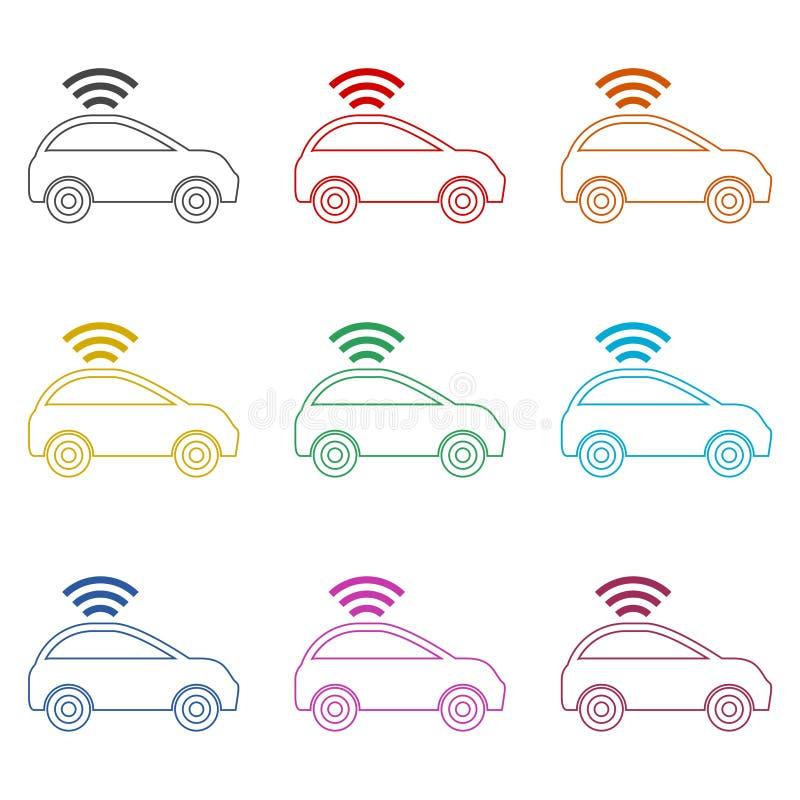 Związany samochód Mądrze samochodowa ikona z bezprzewodowym łączliwość symbolem, kolor ikony ustawiać ilustracja wektor