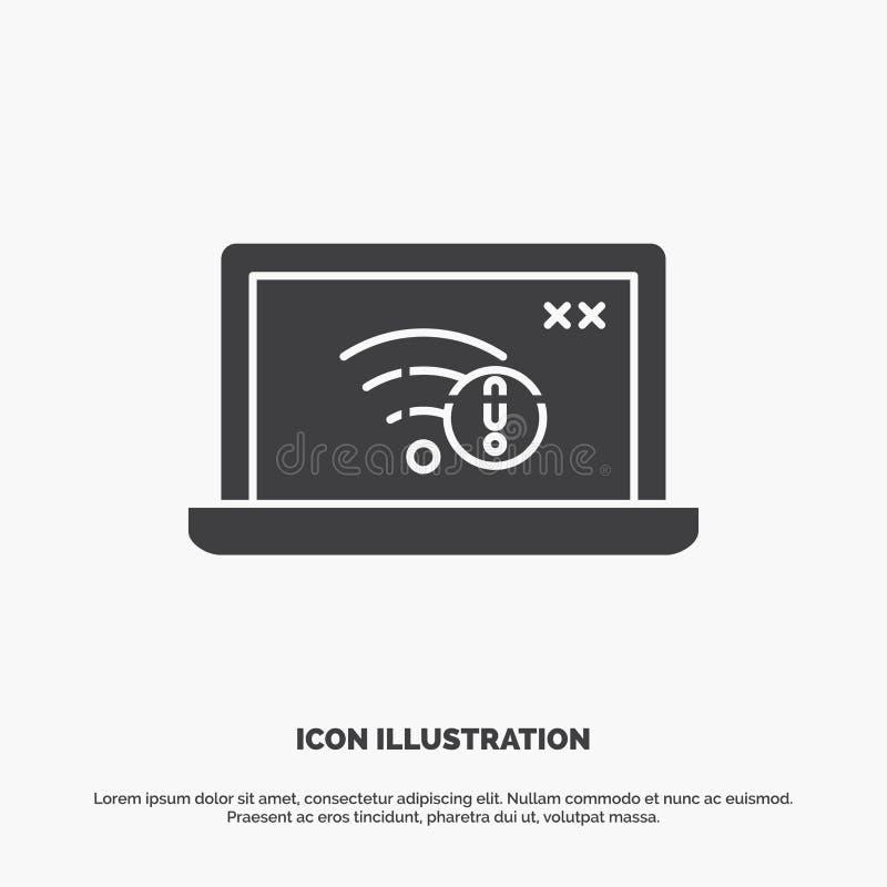 związek, błąd, internet, gubjący, internet ikona glifu wektorowy szary symbol dla UI, UX, strona internetowa i wisz?cej ozdoby za ilustracja wektor