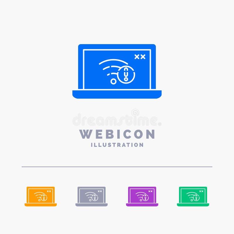 związek, błąd, internet, gubjący, interneta 5 koloru glifu sieci ikony szablon odizolowywający na bielu r?wnie? zwr?ci? corel ilu royalty ilustracja