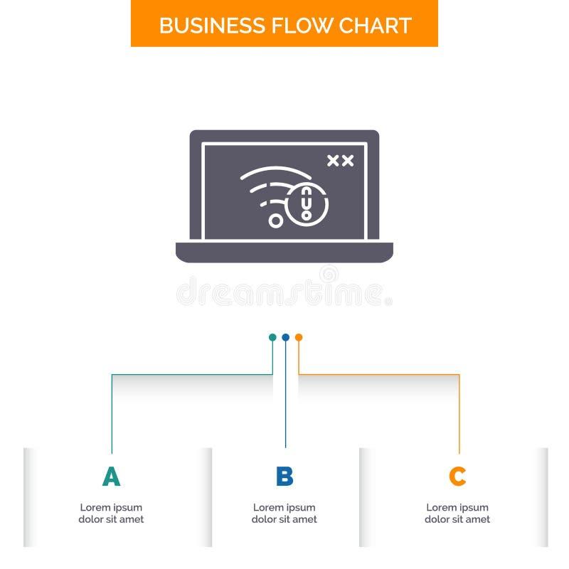 związek, błąd, internet, gubjący, internet Spływowej mapy Biznesowy projekt z 3 krokami Glif ikona Dla prezentacji t?a ilustracja wektor