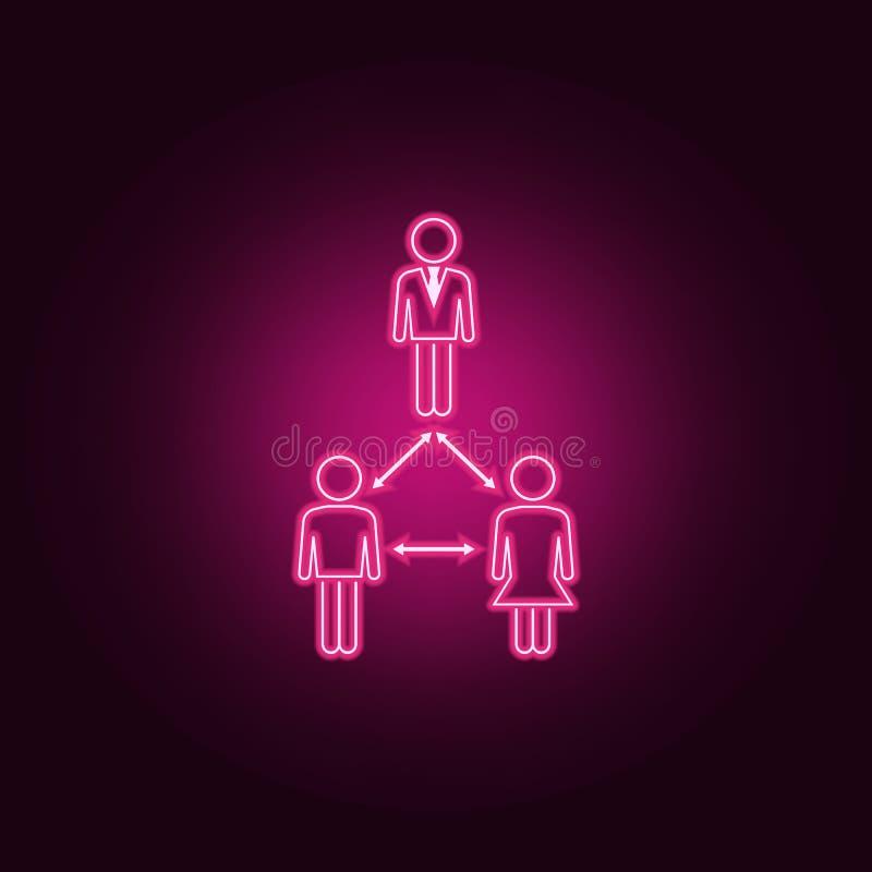 związek biznesowa osoba z klient neonową ikoną Elementy ludzie set?w Prosta ikona dla stron internetowych, sie? projekt, wisz?ca  ilustracji