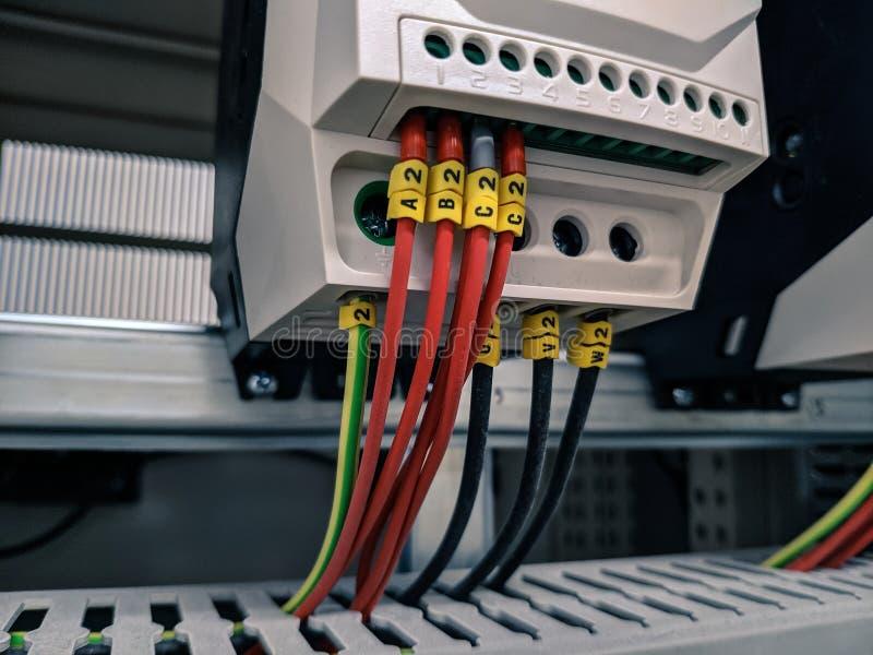 Związek drutowanie pomiarowy wyposażenie w elektrycznym panelu fotografia royalty free