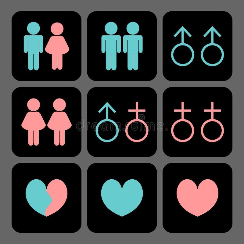 Związek ikony różnorodni rodzaje ilustracji