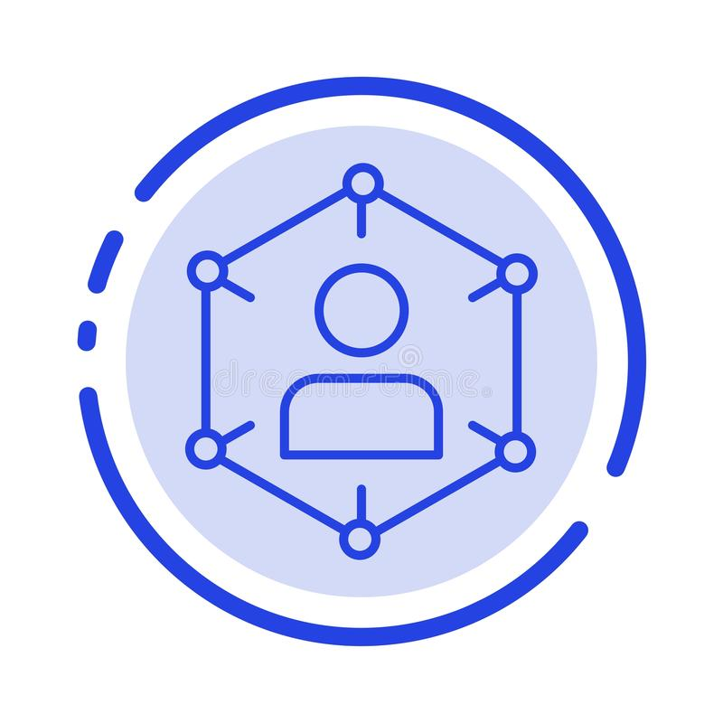 Związek, komunikacja, sieć, ludzie, ogłoszenie towarzyskie, socjalny, użytkownik linii linii błękit Kropkująca ikona ilustracji