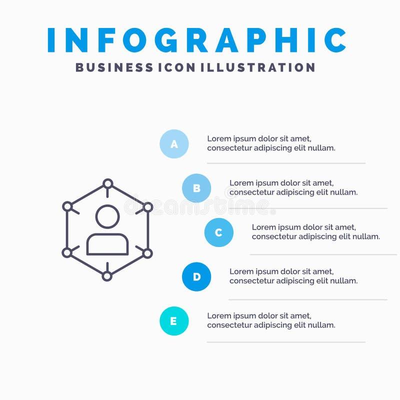 Związek, komunikacja, sieć, ludzie, ogłoszenie towarzyskie, socjalny, użytkownik linii ikona z 5 kroków prezentacji infographics  ilustracji