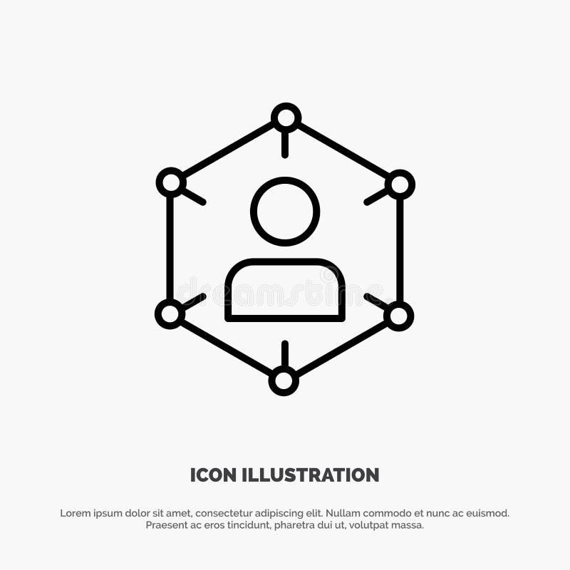 Związek, komunikacja, sieć, ludzie, ogłoszenie towarzyskie, socjalny, użytkownik linii ikony wektor ilustracja wektor