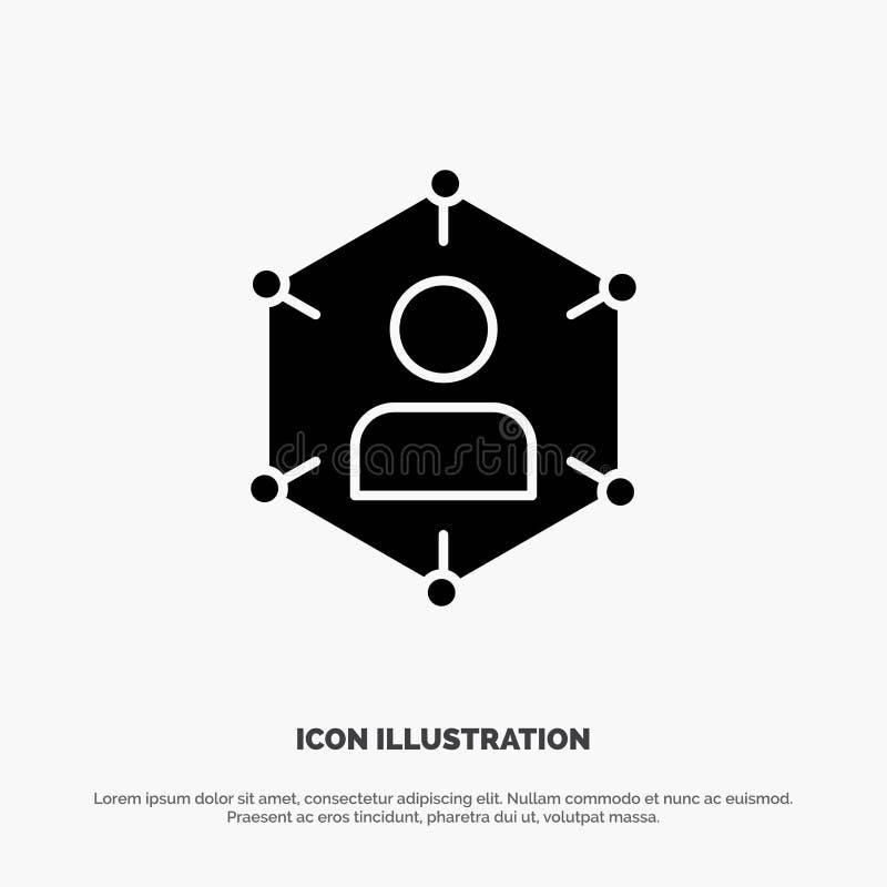 Związek, komunikacja, sieć, ludzie, ogłoszenie towarzyskie, socjalny, użytkownika glifu ikony stały wektor ilustracja wektor