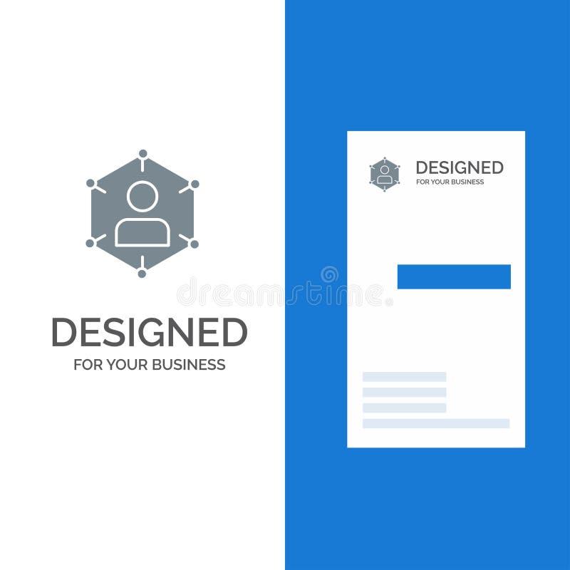 Związek, komunikacja, sieć, ludzie, ogłoszenie towarzyskie, socjalny, użytkownika logo Popielaty projekt, i wizytówka szablon royalty ilustracja