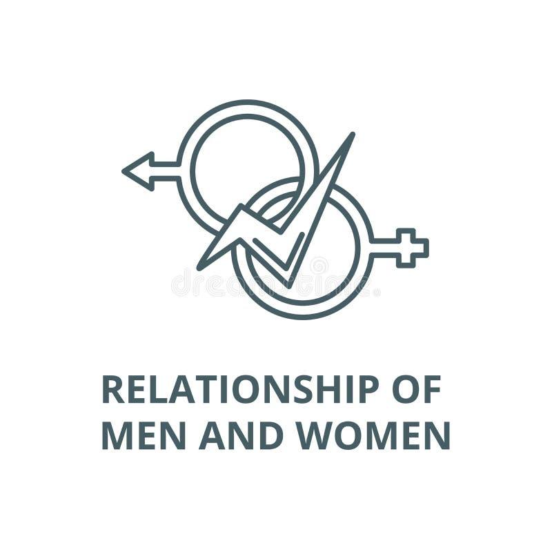 Związek mężczyzn i kobiet wektor wykłada ikonę, liniowy pojęcie, konturu znak, symbol royalty ilustracja