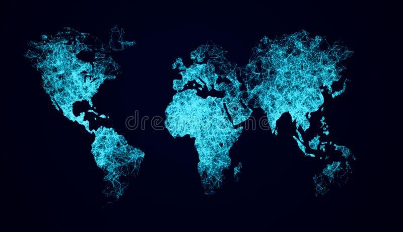 związek na całym świecie Abstrakcjonistyczna sieci Plexus związku sieć Na Światowej mapie ilustracja wektor