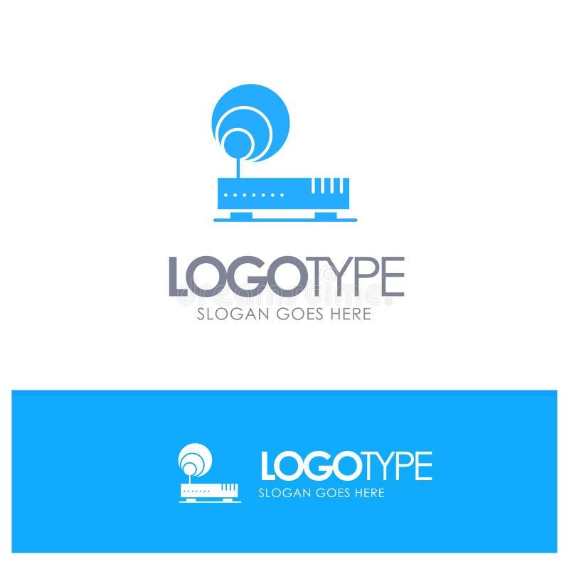 Związek, narzędzia, internet, sieć Błękitny Stały logo z miejscem dla tagline ilustracji