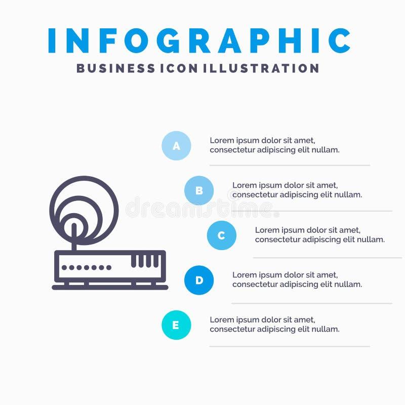 Związek, narzędzia, internet, sieci Kreskowa ikona z 5 kroków prezentacji infographics tłem royalty ilustracja
