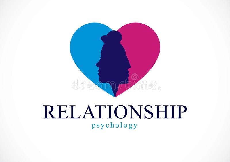 Związek psychologii pojęcie tworzący z mężczyzna i kobiety głowami ilustracji