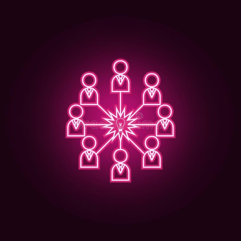 Związek, sieć pomysłu neonowa ikona Elementy Dru?ynowy praca set Prosta ikona dla stron internetowych, sie? projekt, mobilny app, ilustracji