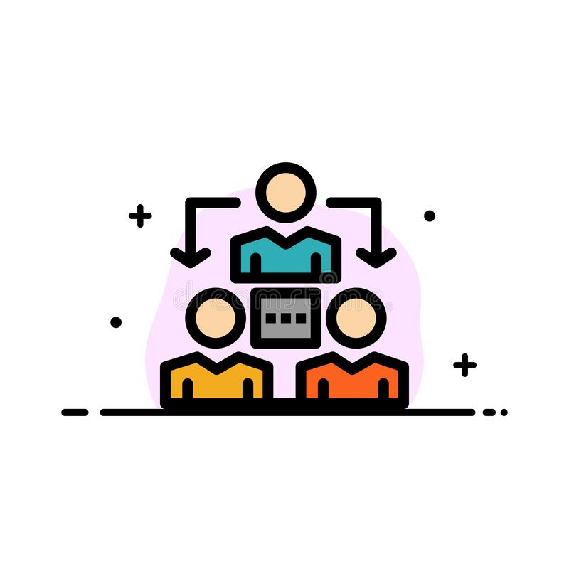 Związek, spotkanie, biuro, Komunikacyjna Biznesowa linia Wypełniający mieszkanie ikony sztandaru Wektorowy szablon ilustracja wektor