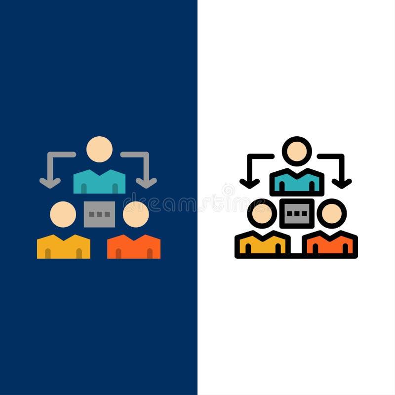 Związek, spotkanie, biuro, Komunikacyjne ikony Mieszkanie i linia Wypełniający ikony Ustalony Wektorowy Błękitny tło royalty ilustracja