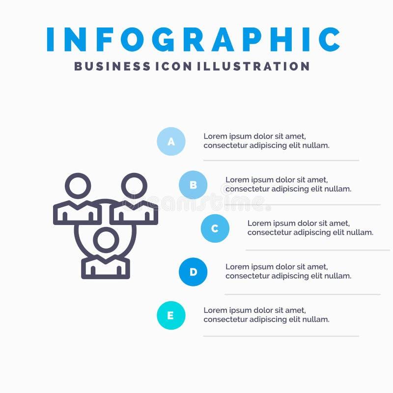 Związek, spotkanie, biuro, Komunikacyjnej linii ikona z 5 kroków prezentacji infographics tłem ilustracja wektor