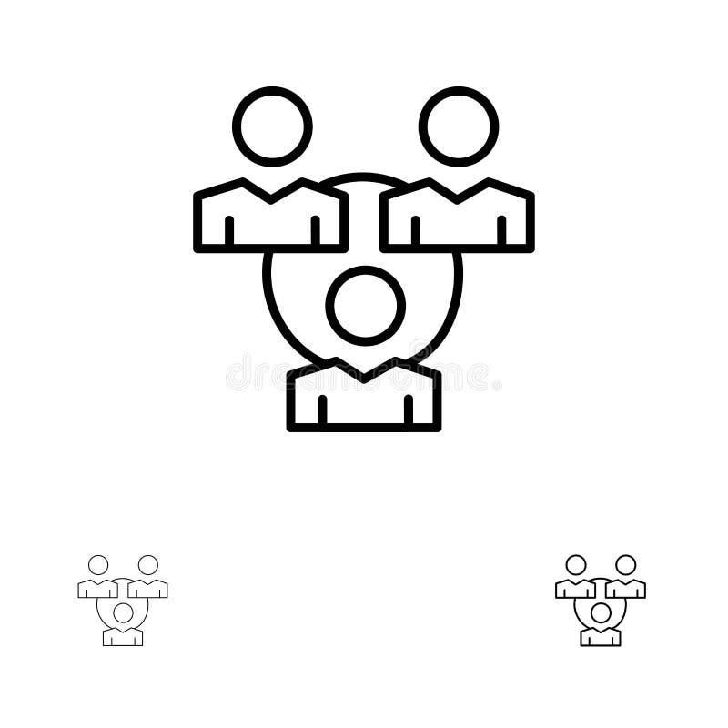 Związek, spotkanie, biuro, Komunikacyjny czerni linii ikony set, Śmiały i cienki ilustracja wektor
