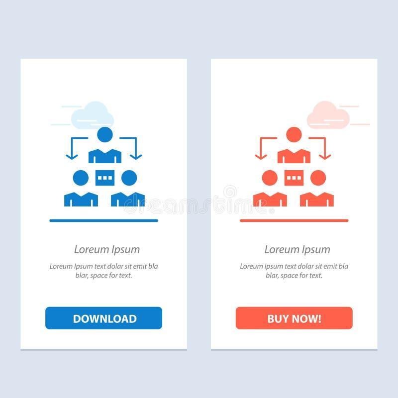 Związek, spotkanie, biuro, Komunikacyjny sieci Widget karty szablon, Błękitnej, Czerwonej i ściągania i zakupu Teraz ilustracja wektor