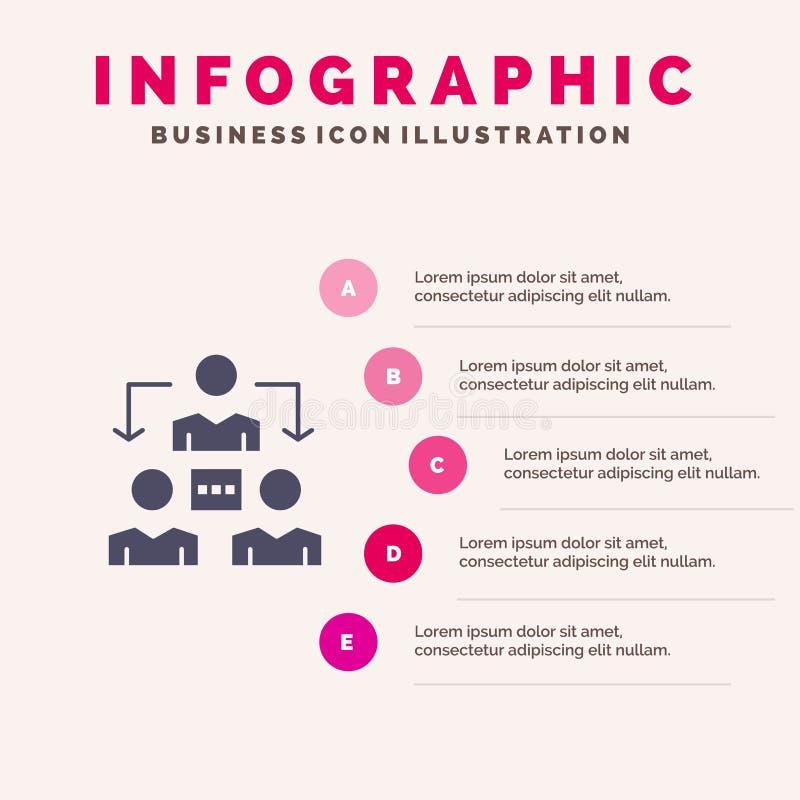 Związek, spotkanie, biuro, Komunikacyjny Stały ikony Infographics 5 kroków prezentacji tło ilustracja wektor