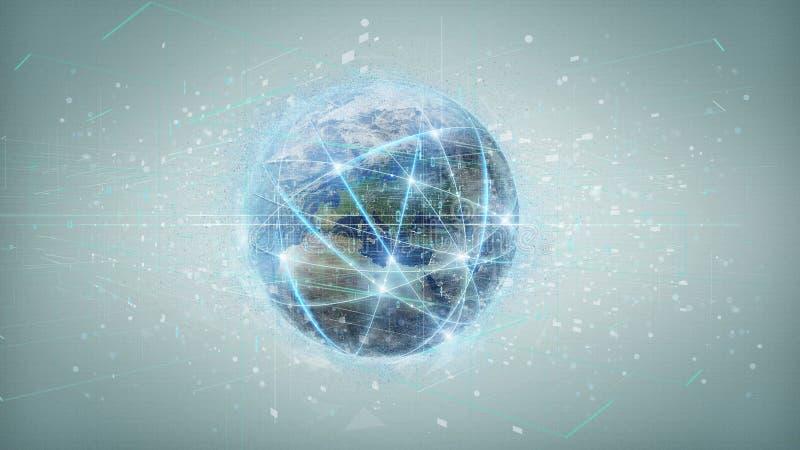 Związek wokoło światowej kuli ziemskiej odizolowywającej na tle 3d rend ilustracja wektor