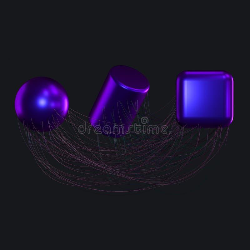 Związek wykłada z kreatywnie geometriami, 3d rendering royalty ilustracja