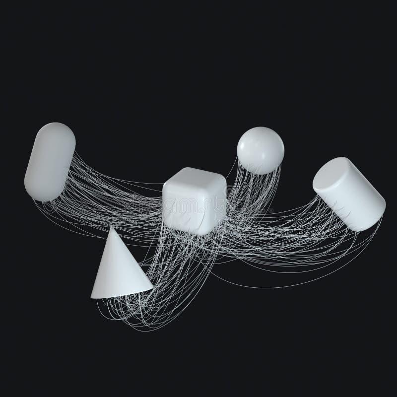 Związek wykłada z kreatywnie geometriami, 3d rendering ilustracji