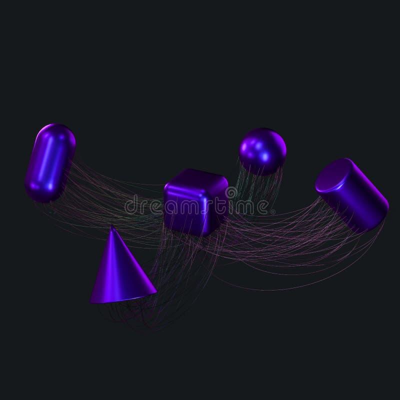 Związek wykłada z kreatywnie geometriami, 3d rendering ilustracja wektor