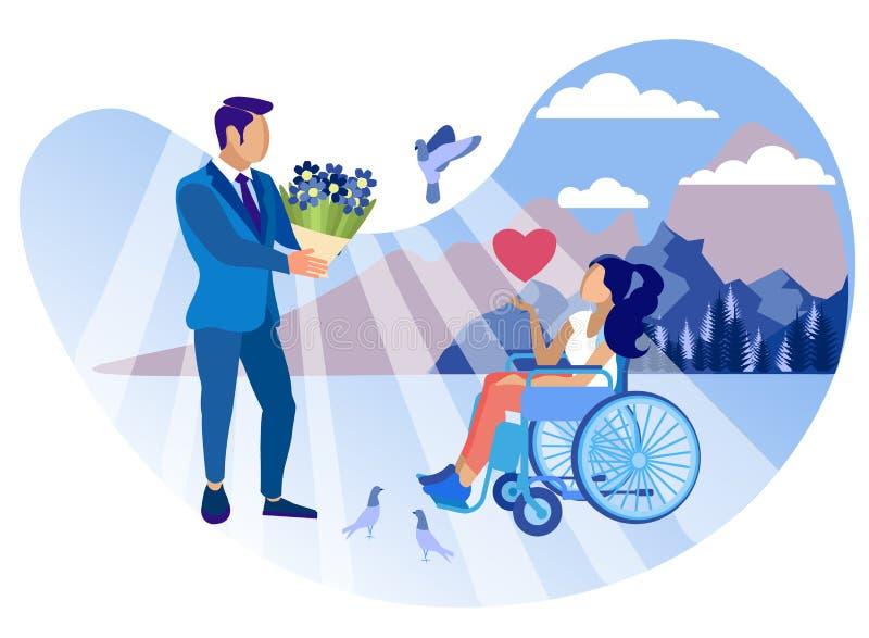 Związek z Niepełnosprawnym dziewczyny kreskówki mieszkaniem royalty ilustracja
