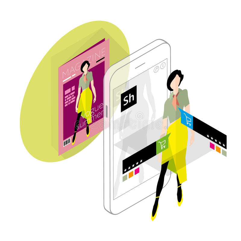 Zwiększająca rzeczywistość w handlu elektronicznym royalty ilustracja