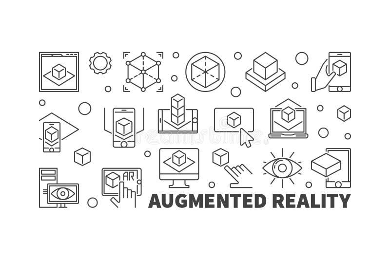 Zwiększająca rzeczywistości AR konturu wektorowa horyzontalna ilustracja ilustracji