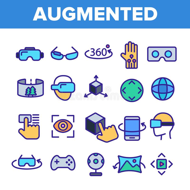 Zwiększający, rzeczywistość wirtualna Liniowe Wektorowe ikony Ustawiać ilustracja wektor