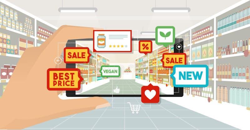 Zwiększający rzeczywistości i sklepu spożywczego zakupy ilustracja wektor