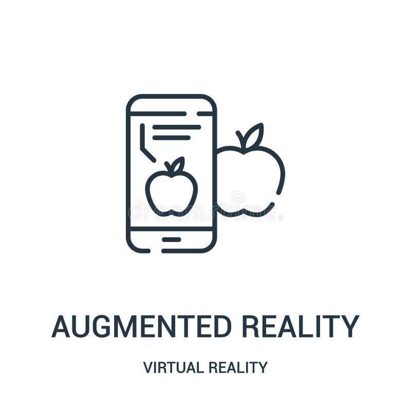 zwiększający rzeczywistości ikony wektor od rzeczywistości wirtualnej kolekcji Cienka linia zwiększająca rzeczywistość konturu ik royalty ilustracja