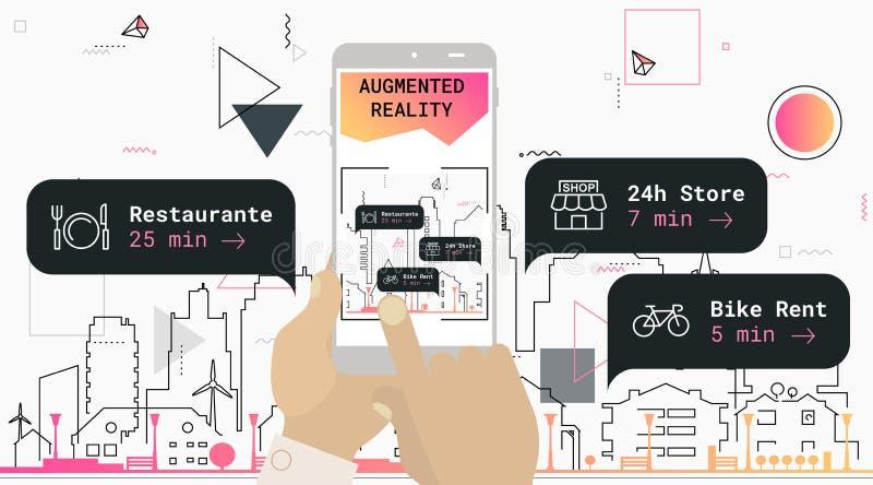 Zwiększający rzeczywistości miasta turystyki app mobilny pojęcie ilustracja wektor
