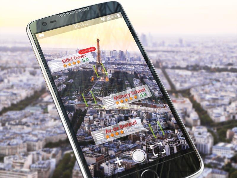 Zwiększający rzeczywistości podróży zastosowania pojęcie Mobilny mądrze phon ilustracji