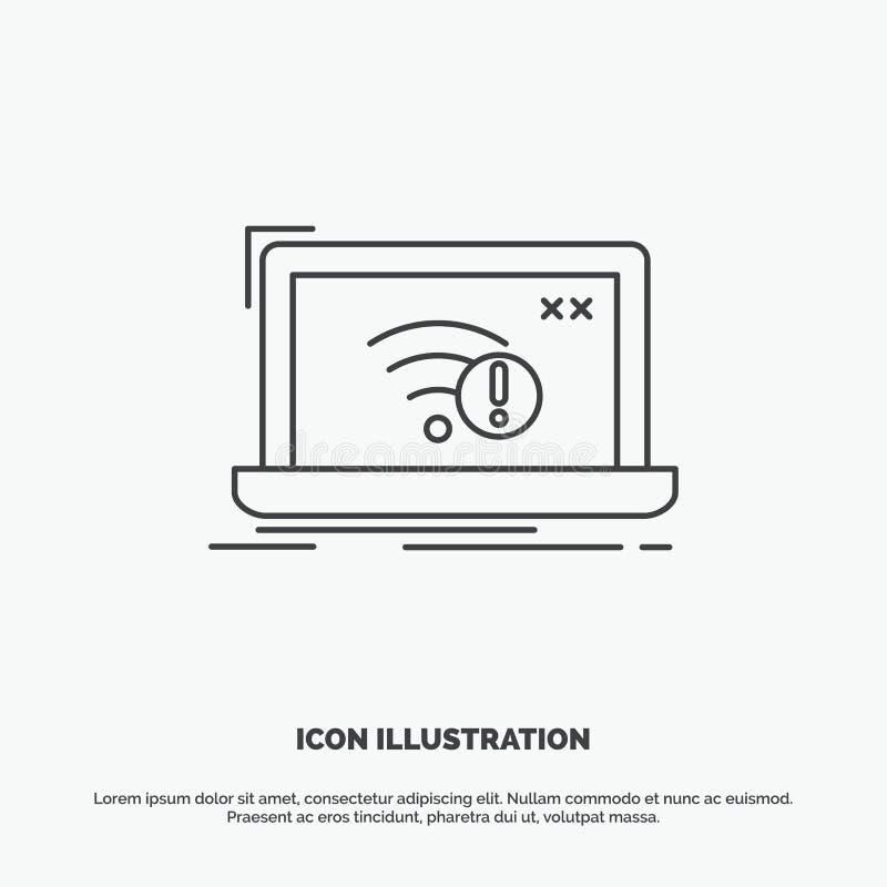 zwi?zek, b??d, internet, gubj?cy, internet ikona Kreskowy wektorowy szary symbol dla UI, UX, strona internetowa i wisz?cej ozdoby royalty ilustracja