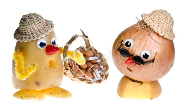 Zwiebelengesicht und Kartoffelkopf stockfotografie