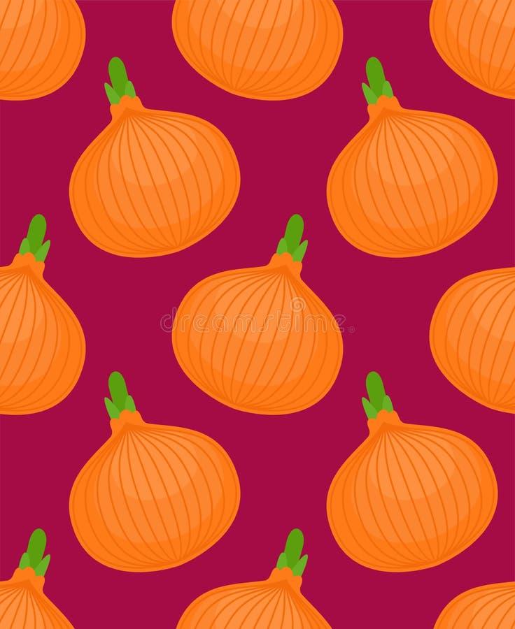 Zwiebelmuster nahtlos Kleine Zwiebeln Gemüsebeschaffenheit Karikaturart vectorVerzierung lizenzfreie abbildung