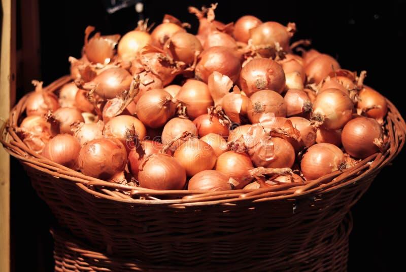 Zwiebeln im großen Weidenkorb stockbild