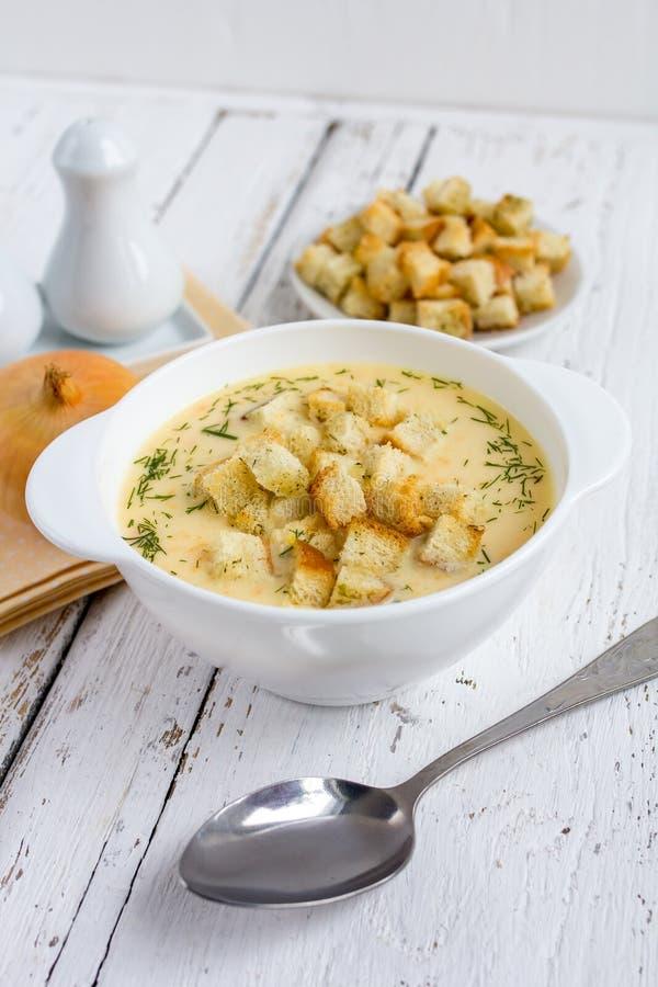 Zwiebelsuppe mit Käse stockfotografie