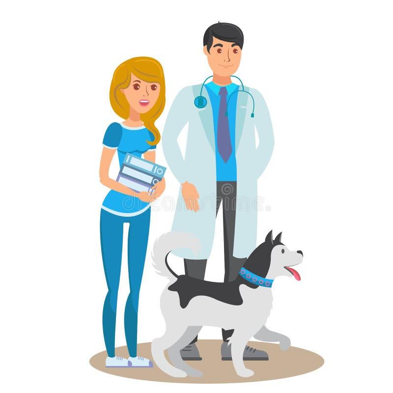 Zwierzę domowe opieki Usługowego mieszkania koloru Wektorowa ilustracja ilustracji