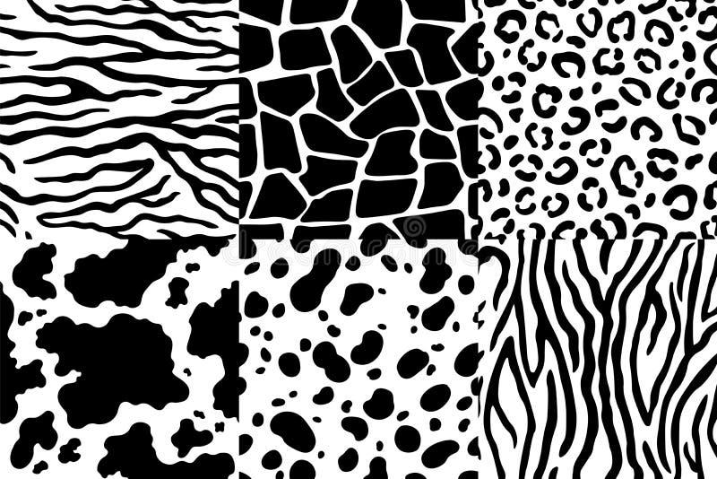 Zwierzęcej skóry wzór Przyrody zebry tekstura, tygrysi skóra lampasy i lampartów punkty, Zwierzę tekstur bezszwowi wzory ilustracja wektor