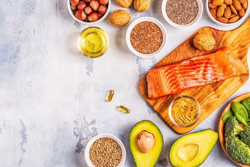 Zwierzęcy i jarzynowi źródła omega-3 kwasy obraz royalty free