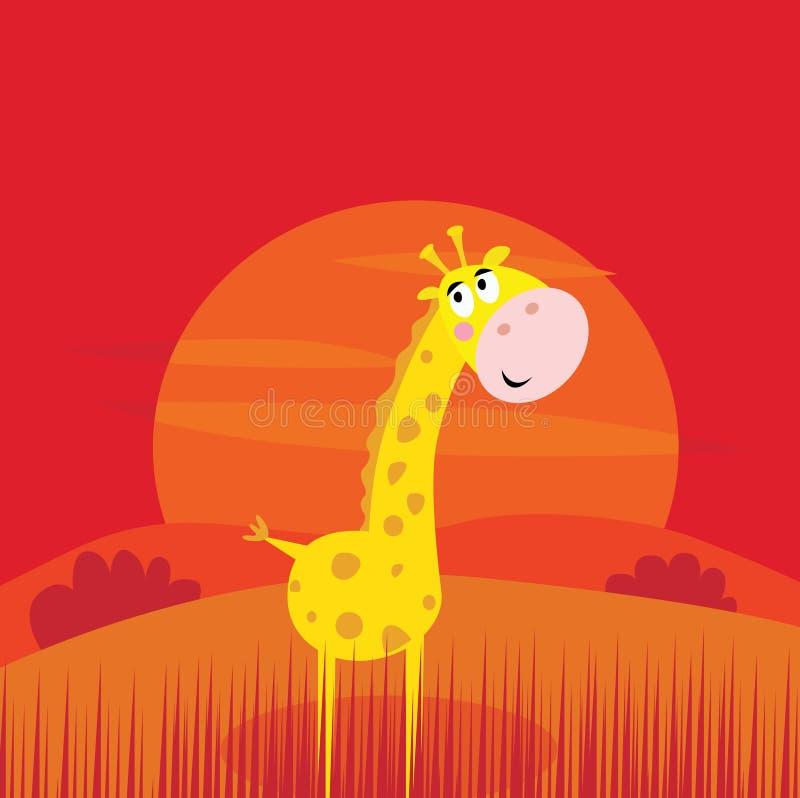zwierząt ślicznej żyrafy czerwony safari sceny zmierzch ilustracja wektor
