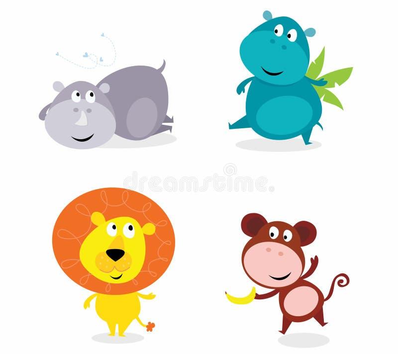 zwierząt śliczny hipopotama lwa nosorożec safari set ilustracja wektor