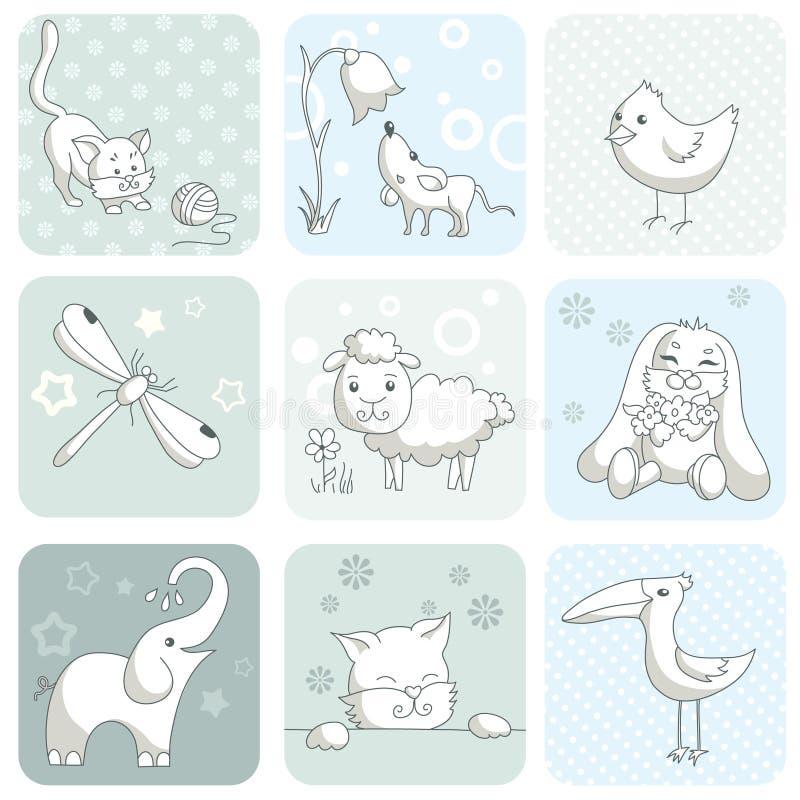 zwierząt dziecka karta ilustracji