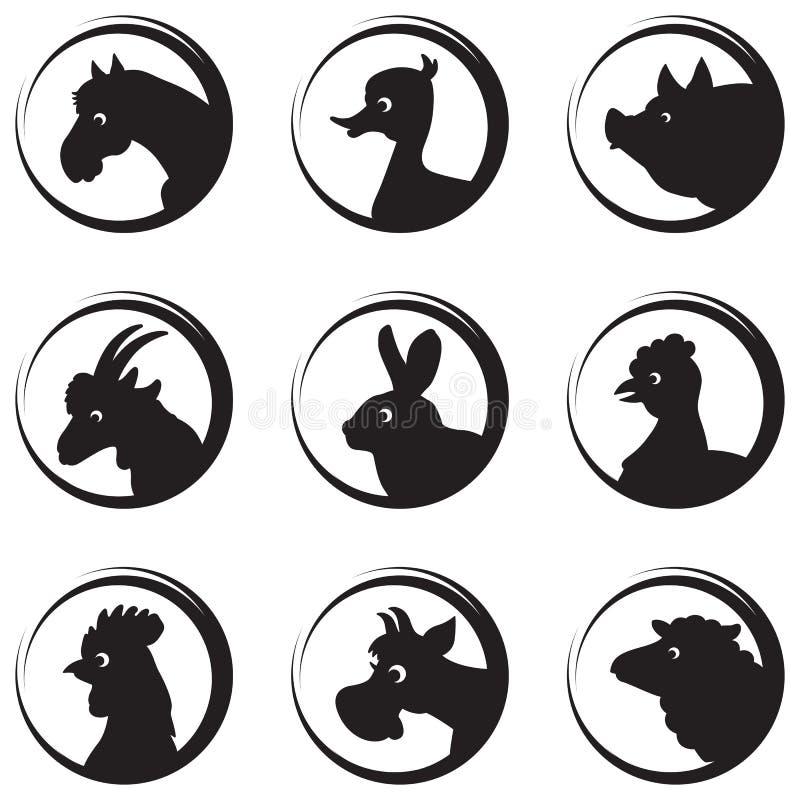 Zwierząt gospodarskich i ptaków sylwetki ikony wektorowy set royalty ilustracja