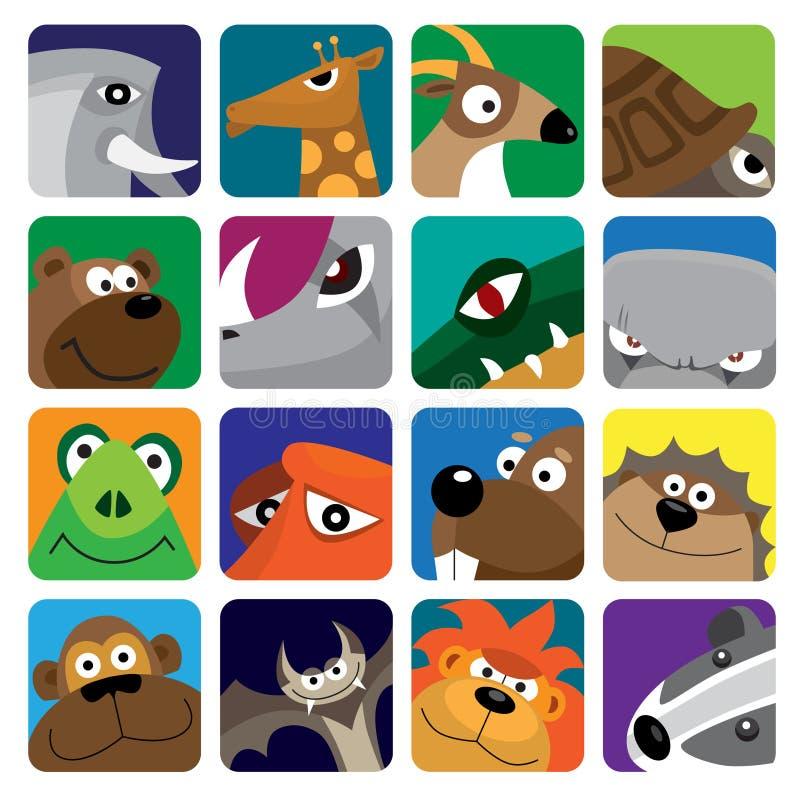 zwierząt ikony setu wektor dziki ilustracja wektor