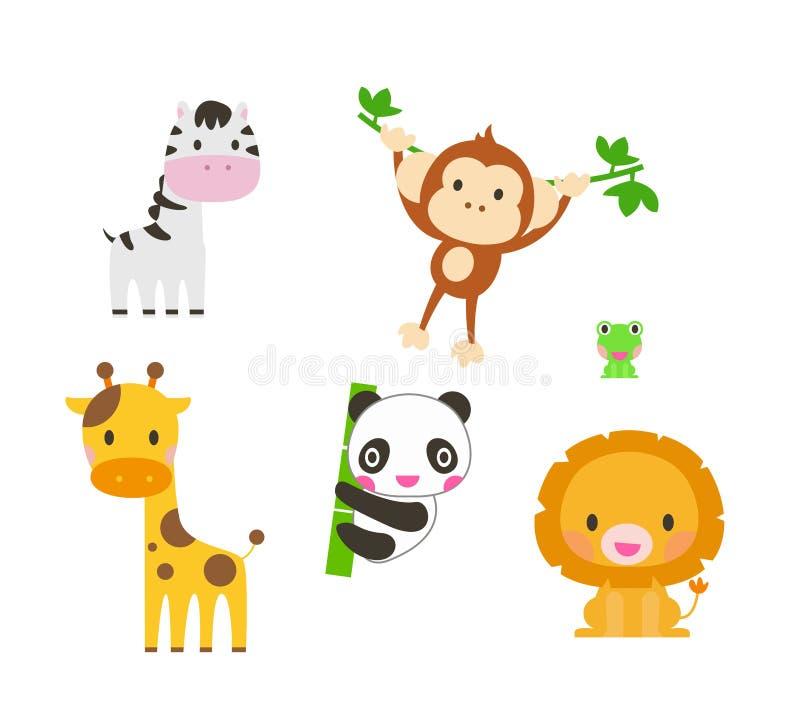 2 zwierząt inkasowa śliczna część Słoń, lew, zebra, żyrafa, panda, małpa royalty ilustracja